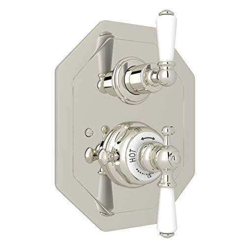 Pn Polished Nickel Porcelain - ROHL U.5555L-PN/TO THERMOSTATIC SHOWER Polished Nickel (Renewed)