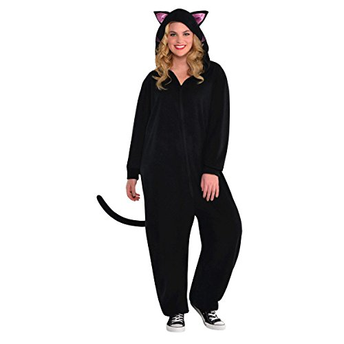 AMSCAN Zipster Black Cat One Piece Halloween Costume for Women, Small/Medium, with Included -