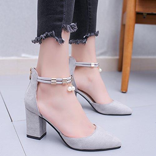 La mujer de verano pies zapatos planos sandalias de fondo 39 de polvo de perlas Grey