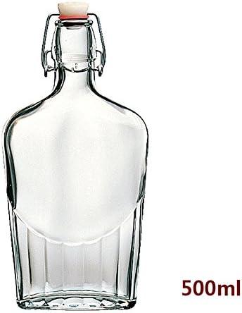 Compra Estilo clásico con tapón de botella de vidrio transparente, la Protección del Medio Ambiente Material Sellado de vidrio Botella de Vino Diario condimentos necesarios, botella de 500ml en Amazon.es