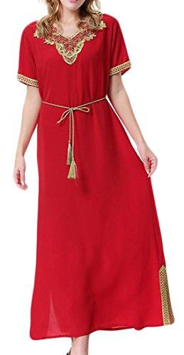 Women's Linen Caftan Ethnic Evening Dress (Red) - 4
