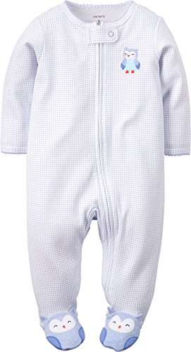 Carter's Baby Girls Happiest Owl Footed Coverall - White, 9 -