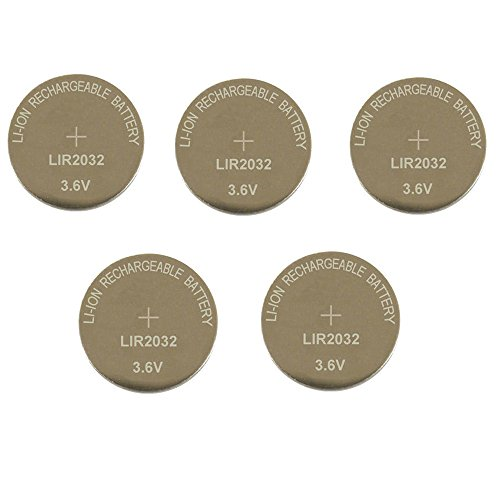 2032 Rechargeable Coin Battery Li-ion Button Cell LIR2032, 5 Pack
