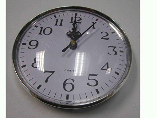 Silver Rim Quartz Clock Insert Arabic Numbers White Face Outside Diameter 131mm / 5 1/8 in (Face Arabic Insert)