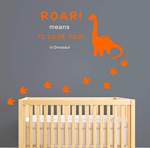 Dinosaur Wall Decal, Roar Means I Love You in Dinosaur with Footprints, Vinyl Stickers for Baby Boys, Kids Bedroom Wall Decor, Nursery Decoration, Quote Wall Decals(A22) (Orange, - Orange Nursery Decorations