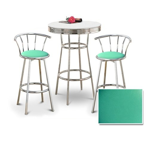 Chrome Bar Table & 2 Chrome 29″ Turquoise Vinyl Seat Barstools 410Cxccc7bL