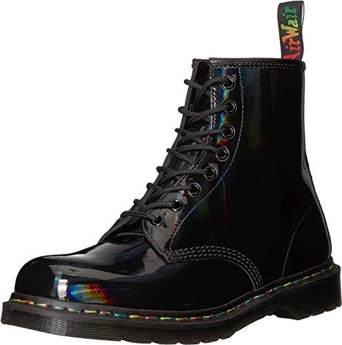 Martens Leather Womens - Dr. Martens Unisex 1460 Rainbow Patent Black Boot - 6 UK