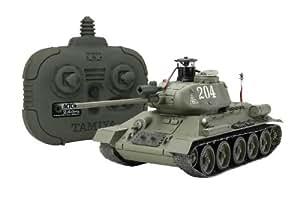 Tamiya 300048210 T34-85 - Tanque a escala 1:35 por control remoto, 2,4 GHz, Segunda Guerra Mundial