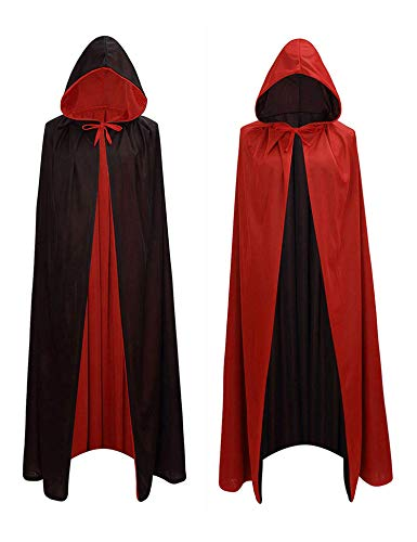 COOFANDY Kids Halloween Reversible Hooded Cloak Cape Wizard Vampires Cosplay Boy & Girl Costumes (Black/Red)