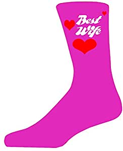 Glam Mejor esposa en color rosa calcetines, gran regalo de San Valentín