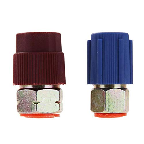 Red Blue Car Retrofit 7/16 to 3/8 Conversion Adapter R12 to R134a High/Low Voltage AC Fitting for Automobiles Air - Retrofit Blue