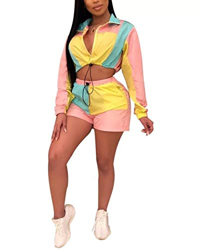 2 Piece Block Outfits - Off Shoulder Long Sleeve Zip up Crop Top Adjustable Mini Skirts Sets Pink M