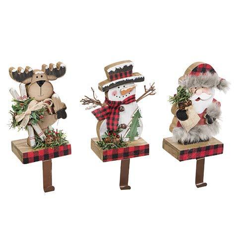 Family Crafty Kids 3 Winter Plaid Mantle Fireplace Stocking Holders Reindeer, Santa, Snowman