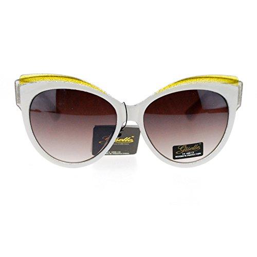 Giselle Womens Oversize Cat Eye Gel Glitter Fashion Sunglasses - Glasses White Designer