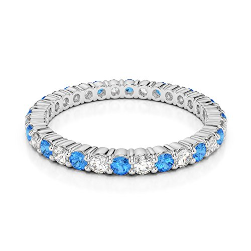 Or blanc 18 carats 0,40 CT G-H/VS sertie de diamants Coupe ronde Topaze bleue et bague éternité Agdr-1110