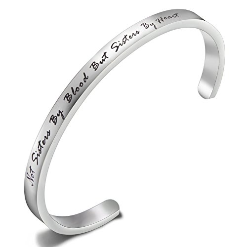 """FEELMEM Best Friends Bracelet """"Not Sisters By Blood But Sisters By Heart """"Cuff Bangle Bracelet,Inspirational Friendship Jewelry,Birthday Christmas Gifts for Women Girl(Silver Sisters By Heart)"""
