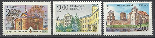 Review Belarus Postage Stamps -1992 MNH 6v. Complete Set Churches and Castles of Belarus Palaces Buildings Architecture