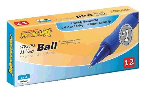 Promarx TC Ball Premium Pro Grip Stick Pens, Medium Point, 1.0 mm, Blue Ink, 12 Count