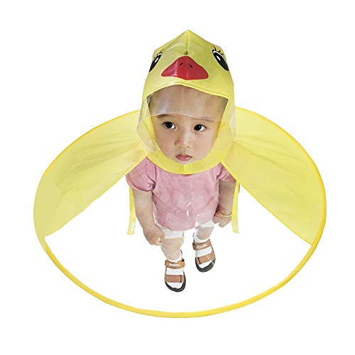 Doubmall Kids Raincoat Children Rain Ponchos Cartoon Duck Raincoat Foldable Hooded Cloak ()