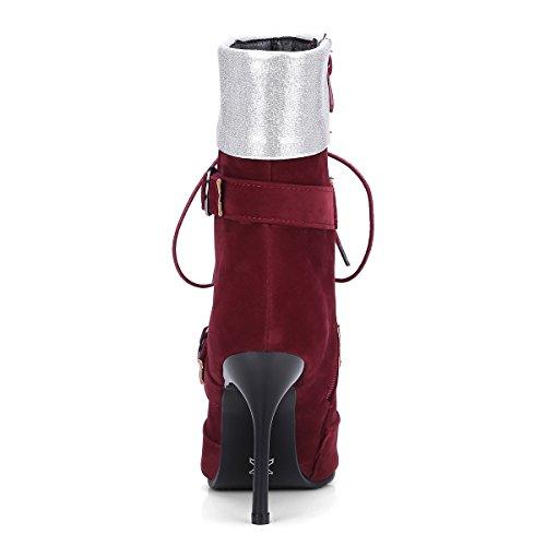YE Damen Ankle Boots Stiletto High Heels Spitze Stiefeletten mit Schnürsenkel und Reißverschluss 10cm Absatz Elegant Schuhe Rot