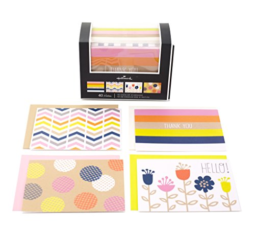 Hallmark Assorted Notecards (Stripes, Dots, Flowers, Blank Inside, 40 Cards and Envelopes) by Hallmark
