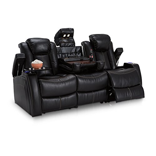 Seatcraft 162E51151459-V1 Omega Leather Gel Home Theater Seating Power Recline Multimedia Sofa, Black