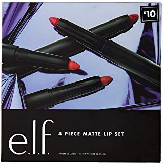 E.l.f. 4 Piece Matte Lip Gift Set including Praline, Berry Sorbet, Rich Red and Wine Matte Lipsticks