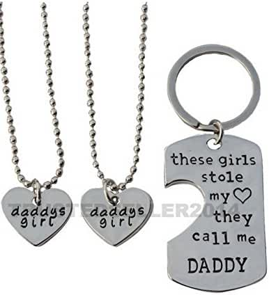 3 piece Dad Daddy Daughter Stole My Heart these girls kids Fathers Day Pendant Necklace Keychain Set