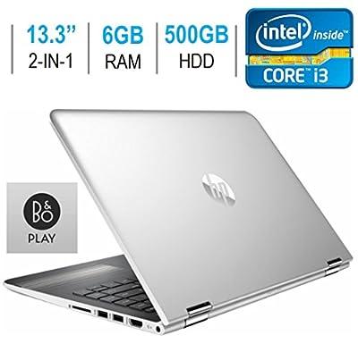 "2017 Newest HP Pavilion X360 2-in-1 Convertible 13.3"" IPS Touchscreen Laptop PC, Intel Core i3-7100U 2.4GHz, 6GB DDR4 SDRAM, 500GB HDD, HDMI, Bluetooth, HD Graphics 620, B&O PLAY, Windows 10"