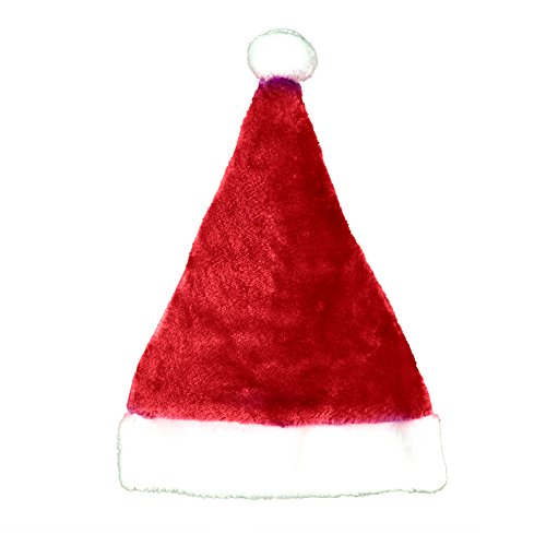 Ugly Sweater Christmas Party Kit - (2) Pack Plush Santa Hats + (2) Pack LED Christmas Necklace (Red Santa Hat + Necklace) by Windy City Novelties (Image #4)