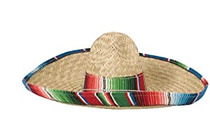 Rubie's Costume Sombrero with Rainbow Serape Edge And Band, Multicolored, One Size