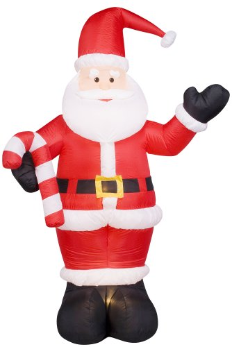 8 ft gemmy christmas airblown inflatable santa holding candy cane yard art - Christmas Airblown Inflatables
