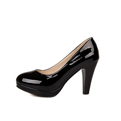 Women's Closed WeiPoot Pumps Black Solid High Round Heels Toe 35 Shoes PqESwdpE