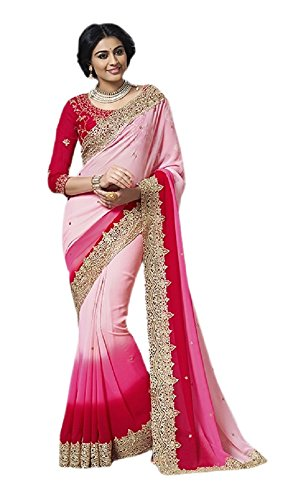 Aarah Women's Elegant Wedding Saree and Party Wear Sari Free Size Red and Pink Pedding