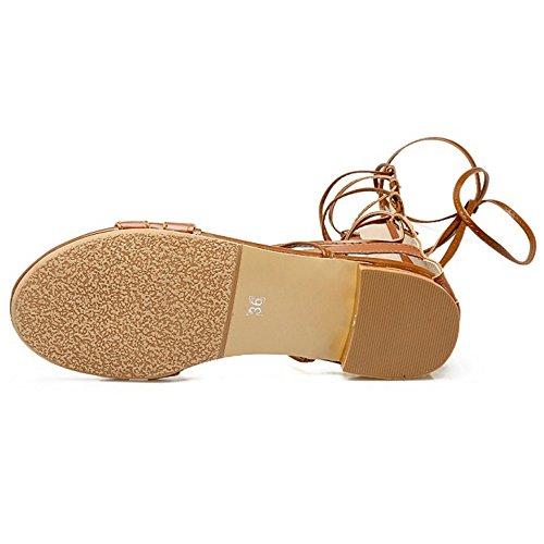 Taoffen Gladiator Zipper Yellow Sandals Women's rgTSqr
