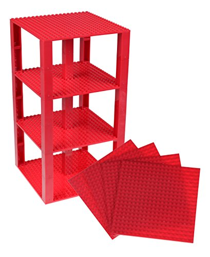 Strictly Briks Classic Baseplates 6 x 6 Brik Tower 100% Compatible with All Major Brands   Building Bricks for Towers and More   4 Dark Red Stackable Base Plates & 30 Stackers