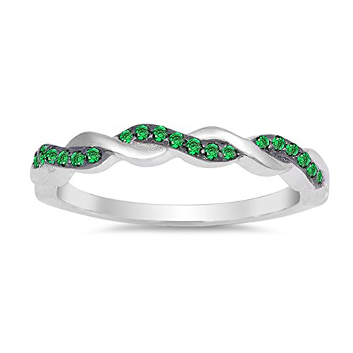 Emerald May Birthstone Ring - Simulated Emerald Woven Mesh Braid Knot Ring New .925 Sterling Silver Band Size 8
