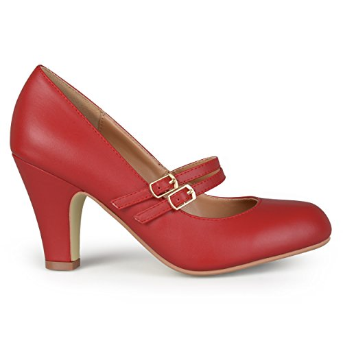 Brinley Co. Womens Matte Finish Classic Mary Jane Pumps Red, 9 Regular US