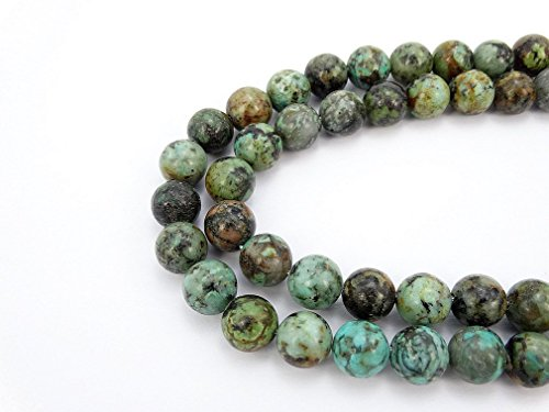 African Turquoise Gem (jennysun2010 Natural African Turquoise Gemstone 12mm Smooth Round Loose 30pcs Beads 1 Strand for Bracelet Necklace Earrings Jewelry Making Crafts Design Healing)