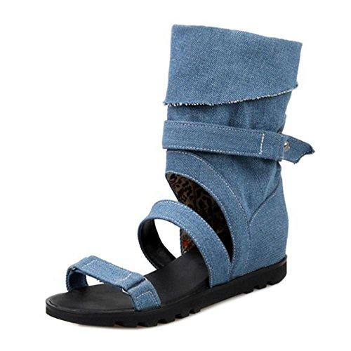 COOLCEPT Mujer Moda Punta Abierta Denim Tacon De Cuna Sandalias Stylish Verano Boots Dark Azul
