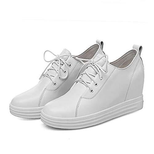 SHOESHAOGE Blanco Sneakers De Dedo Cerrado Comfort del Blanco Creepers Negro Pie Zapatos Mujer 6wg7rOq16