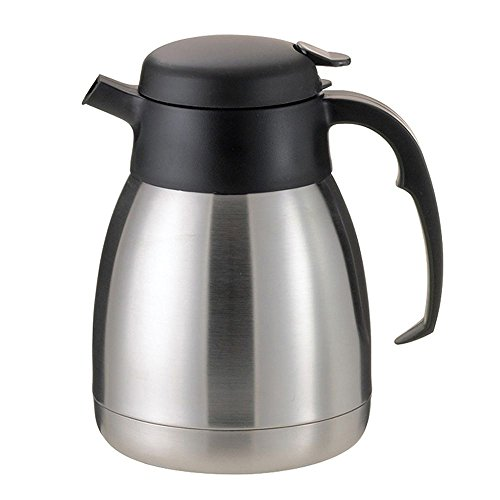 Service Ideas FVP12 SteelVac Carafe, Vacuum Insulated, 1.2 Liter (40.6 oz.), Brushed Stainless/Black Accents