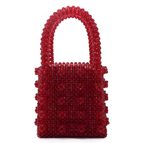 Miuco Womens Beaded Handbags Handmade Weave Crystal Pearl Tote Bags (Red) (Beaded Handle Bag)