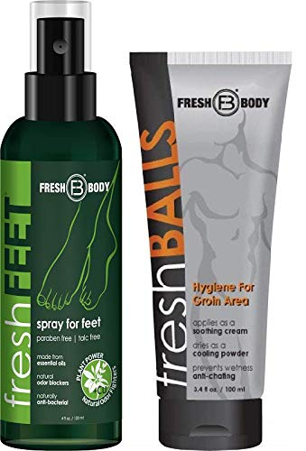 Fresh Balls - FRESH FEET and FRESH BALLS Combo! 4 oz Natural Anti-Bacterial Odor Fighting Spray w/Essential Oils Paired with Fresh Balls 3.4 oz Men's Antiperspirant! (BOTH By Creator of Fresh Balls)
