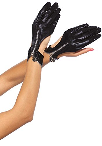 Leg Avenue Women's Wet Look Gloves, Black, One Size