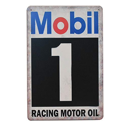 - PEI's Mobil 1 Racing Motor Oil Retro Vintage Tin Metal Sign Wall Decor for Home Garage Bar Man Cave, 8x12 inch/20x30cm