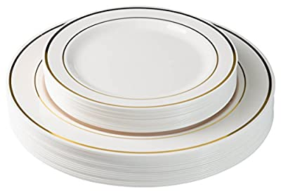"Exquisite 40-Pack Plastic Plates (20-dinner 20-dessert) Set Premium Heavyweight Plastic Wedding Plates ""Looks Like China""..."