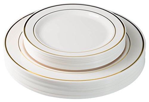 40 Gold Line Plastic Plates (20-dinner 20-dessert) Set Premium Heavyweight Plastic Wedding Like China…