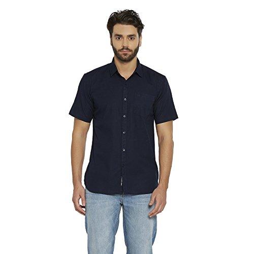 LA Seven Navy Solid Half Sleeves Cotton Slimfit Casual Shirts