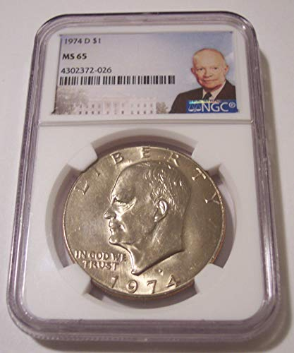 1974 D Eisenhower Portrait Label Dollar MS65 NGC